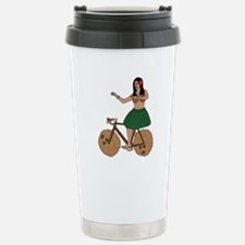 Hula Dancer Riding Bike Travel Mug