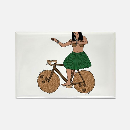 Hula Dancer Riding Bike With Coconut Wheel Magnets