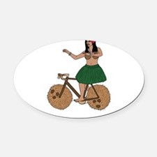 Hula Dancer Riding Bike With Cocon Oval Car Magnet