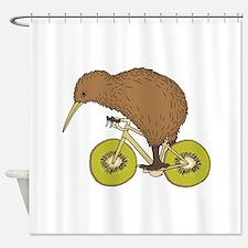 Kiwi Riding Bike With Kiwi Wheels Shower Curtain
