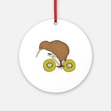 Kiwi Riding Bike With Kiwi Wheels Round Ornament