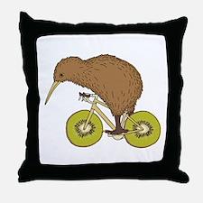 Kiwi Riding Bike With Kiwi Wheels Throw Pillow