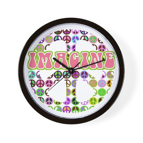 Retro Peace Sign Imagine Wall Clock