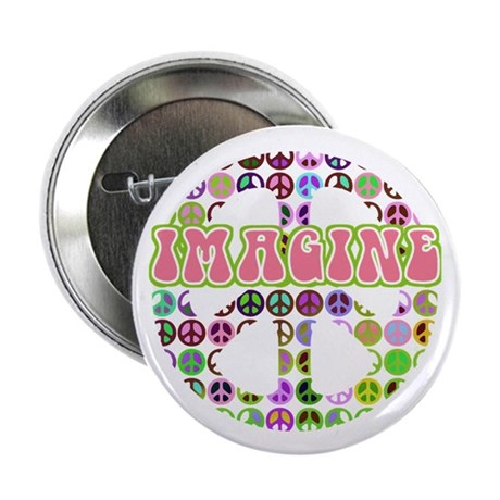 "Retro Peace Sign Imagine 2.25"" Button (100 pack)"