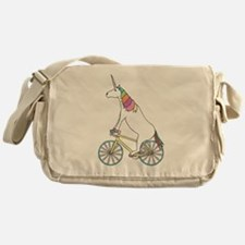 Unicorn Riding Bike With Unicorn Hor Messenger Bag