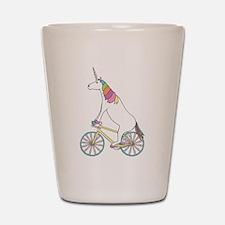 Unicorn Riding Bike With Unicorn Horn S Shot Glass