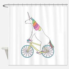 Unicorn Riding Bike With Unicorn Ho Shower Curtain
