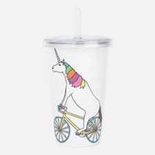 Unicorn Riding Bike Wi Acrylic Double-wall Tumbler