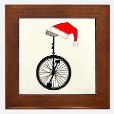 Unicycle Santa Hat Framed Tile
