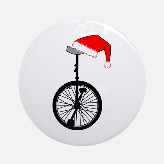 Unicycle Santa Hat Round Ornament