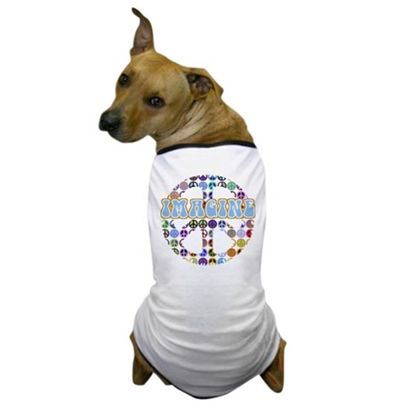 Retro Peace Sign Imagine Dog T-Shirt