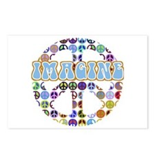 Retro Peace Sign Imagine Postcards (Package of 8)