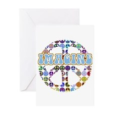 Retro Peace Sign Imagine Greeting Card