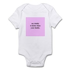 My daddy is hotter... (Pink) Infant Bodysuit