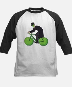 Son Of Man Riding Bike With Apple Baseball Jersey