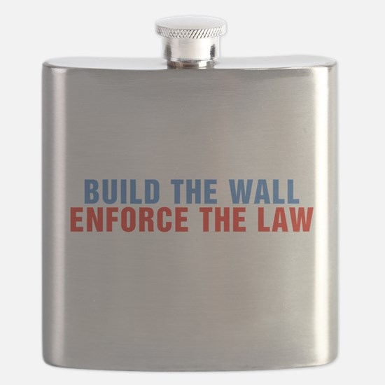 Build The Wall Enforce The Law Donald Trump Flask