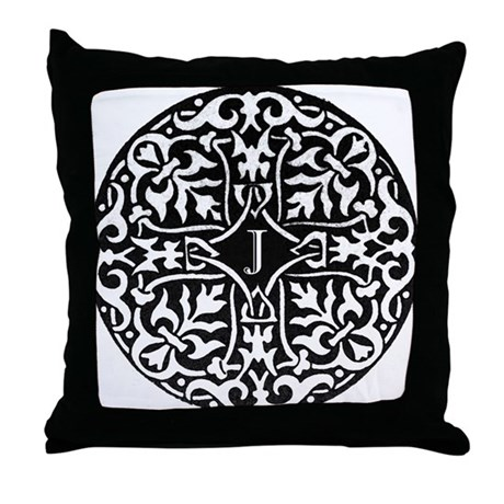 Letter J Monogram Throw Pillow by blackjackandco