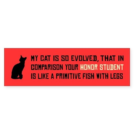 MY CAT IS SO EVOLVED -Bumper Sticker