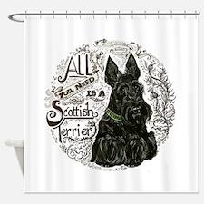 Scottish Terrier Chalkboard Shower Curtain