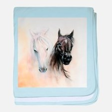 Horses Canvas Painting baby blanket