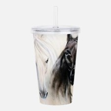Horses Canvas Painting Acrylic Double-wall Tumbler