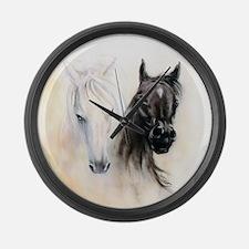 Horses Canvas Painting Large Wall Clock