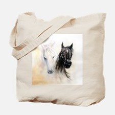 Horses Canvas Painting Tote Bag