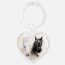 Horses Canvas Painting Heart Keychain