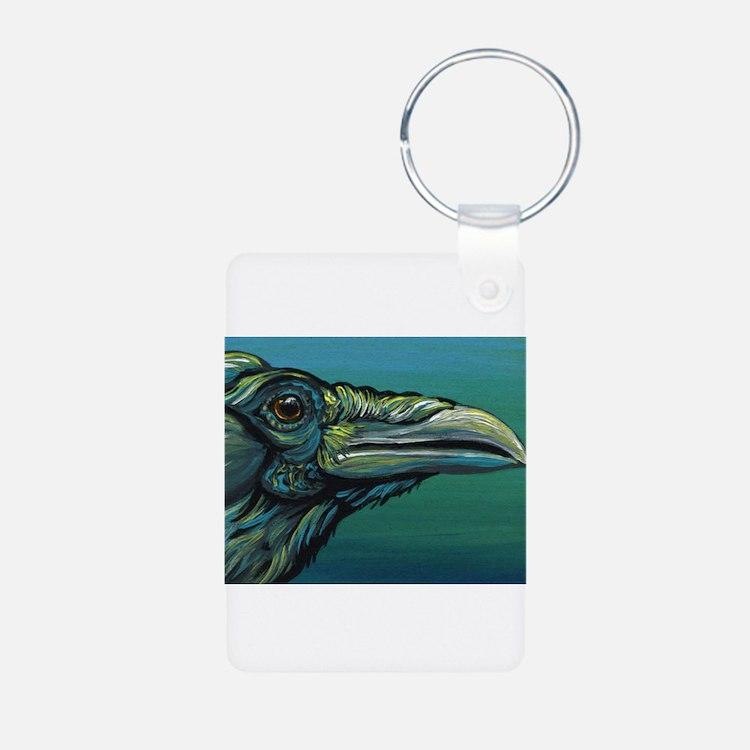 Rainbow Raven Crow Bird WildlifeArt Keychains