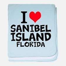 I Love Sanibel Island, Florida baby blanket