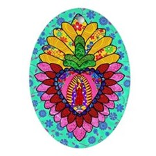 Pink Guadalupe Milagro Oval Ornament