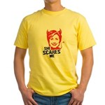 Anti-Hillary: She Scares Me Yellow T-Shirt