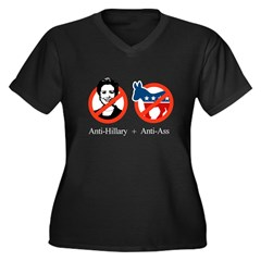 Anti-Hillary & Anti-Ass Women's Plus Size V-Neck D