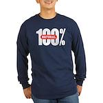 100 Percent Natural Long Sleeve Dark T-Shirt