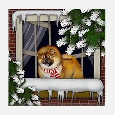 CHOW CHOW DOG WINTER WINDOW Tile Coaster