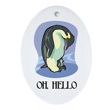 """Oh, Hello"" Oval Ornament"