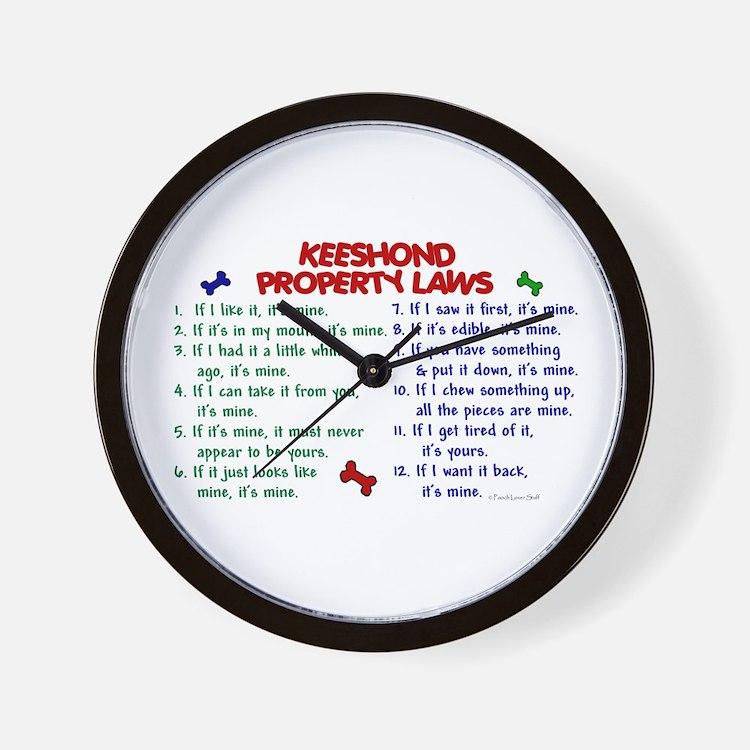 Keeshond Property Laws 2 Wall Clock