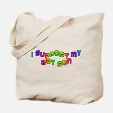 I Support My Gay Son Rainbow Tote Bag