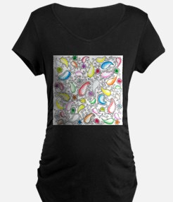 Paisley and Painted Flowers Doodle T-Shirt