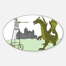 Knight Riding A Tall Bike Slaying A Dragon Decal
