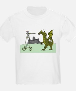 Knight Riding A Tall Bike Slaying A Dragon T-Shirt