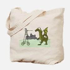 Knight Riding A Tall Bike Slaying A Drago Tote Bag