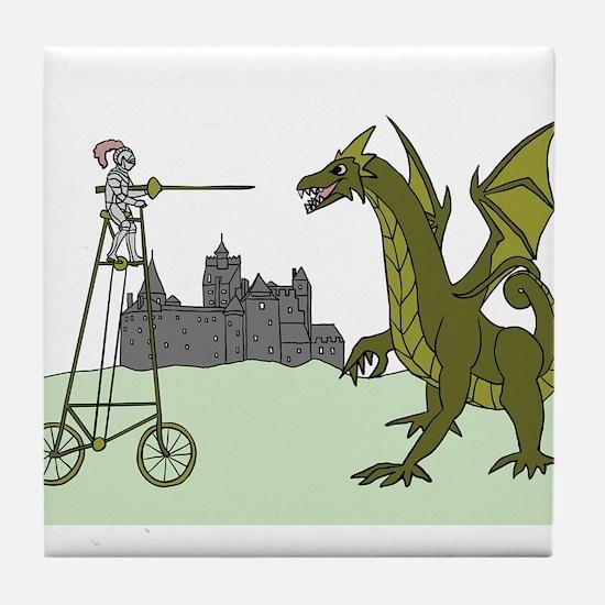 Knight Riding A Tall Bike Slaying A D Tile Coaster
