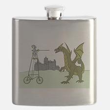 Knight Riding A Tall Bike Slaying A Dragon Flask