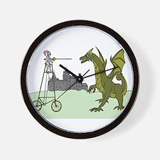 Knight Riding A Tall Bike Slaying A Dra Wall Clock