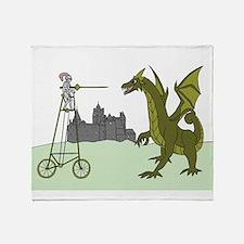 Knight Riding A Tall Bike Slaying A Throw Blanket