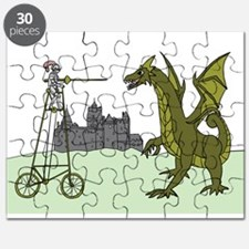 Knight Riding A Tall Bike Slaying A Dragon Puzzle
