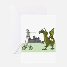 Knight Riding A Tall Bike Slaying A Greeting Cards