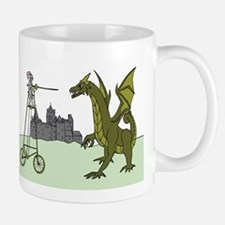 Knight Riding A Tall Bike Slaying A Dragon Mugs