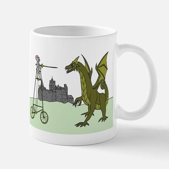 Knight Riding A Tall Bike Slaying A Dragon Mugs